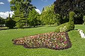 Peafowl in mosaiculture, jardin Lecoq, Clermont-Ferrand, Puy-de-Döme, France
