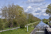 Lock on the Rhone-Rhine canal in spring, Etupes, Doubs, France