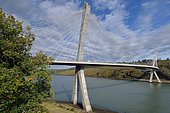 Térénez bridge, allowing to cross the Aulne: the only curved cable-stayed bridge in France and the longest of this type in the world. Finistère, Brittany, France