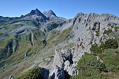 From the top of Les Tourelles, view of the top of the Val d'Azun and the Pic d'Anie, Aspe Valley, Pyrenees, France