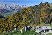 Narbèze hut and forest facing Lescun and part of its circus, Pyrenees, France