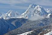 The Dec De Lhurs and the Billare in the first snow, Aspe Valley, Pyrenees, France