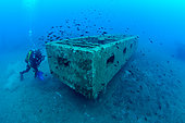 Scuba diver in front of a submerged artificial reef off Bastia, Haute-Corse, France