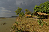 Safari Explorers Camp in stormy weather. Tent camp located by the Luangwa river in South Luangwa NP, Ncefu sector in Zambia