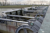 Hydraulic cylinders to open and close the valves of the Couesnon dam which is used to remove the sand from Mont Saint Michel bay, Normandy, France