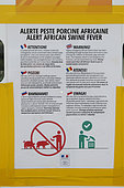 Information panel in the Côtes-d'Armor concerning African swine fever which circulates in certain European countries, Brittany, France