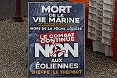Information panel against the installation of wind turbines off Tréport, Normandy, France