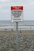 Information Panel prohibiting the removal of pebbles on the beach of Palus Plouha, Brittany, France