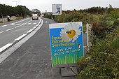 Information panel on spaces maintained without pesticides in the Finistère region, Brittany, France