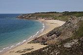 Lourtuais beach from a Cap d'Erquy trail, Brittany, France