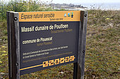 Information panel on the Poulfoen dune massif, commune of Plouescat, Finistère, Brittany, France