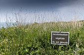 Sign indicating the vegetal recolonization of the soil, Ille et Vilaine, France