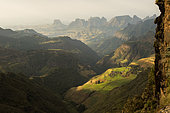 Village on the highlands at 3500 meters above sea level, Simien mountains, Ethiopia