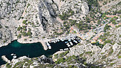 Calanque de Morgiou in the Baumettes district which is part of the 9th arrondissement of Marseille, France