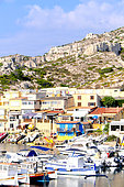 Les Goudes, district of Marseille located in the 8th arrondissement, in the Calanques national park. The site shelters a small fishing (and marina) port in a picturesque and preserved setting of the creeks, Marseille, France.