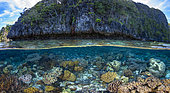 Panorama from coral to rock, Raja Ampat, Indonesia
