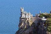 Swallow's Nest castle on Cape of Ai-Todor, near Yalta, Crimea, Ukraine, Europe