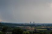 Stormy degradation in the Rhône valley on July 11, 2016, La Garde Adhémar, Tricastin, Drôme, France