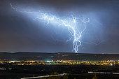 Thunderstorm over the Cevennes during night time, Pierrelatte, Drôme, France