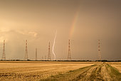 Thunderstorm over the plain of Issoudun at the end of the day, Indre, France