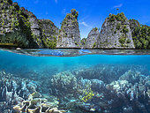 Split level panorama to Raja Ampat, Indonesia