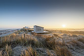 Beach huts in frosty beachgrass at sunrise in winter, Hauts de France, France