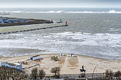 View of Boulogne sur mer, its beach, its port, and the Carnot dike hit by the waves during the storm Ciara, February 2020, Hauts de France, France