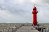 Pier of Boulogne sur mer during storm Ciara, Hauts de France, France