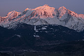 Mont-Blanc massif at sunset. Shooting from the heights of Sallanches. Haute-Savoie, France