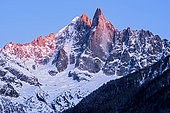 Aiguille Verte and Les Drus at sunset. Shooting from the Chamonix valley. Haute-Savoie, France