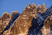 Chamonix needles at sunset. Shooting from the Chamonix valley. Mont-Blanc Massif, Haute-Savoie, France