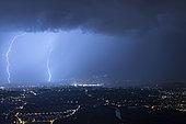Thunderstorm over Geneva, August 18, 2028. Shooting from Mont Salève, Haute-Savoie, France
