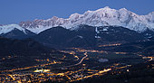 Panorama of Mont-Blanc at twilight, and Arve valley. Shooting above Sallanches. Haute-Savoie, France