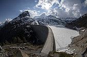 Emosson artificial lake and Emosson dam, Canton of Valais, Switzerland. Shooting June 2019