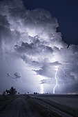 Thunderstorm over the Po Delta, Emilia Romagna, Veneto, Italy