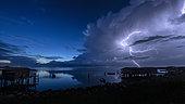 Thunderstorm over the Po Delta, Shot facing a lagoon in the Po Delta, during thunderstorms on September 08, 2019, Emilia Romagna, Veneto, Italy