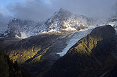 Aiguille du Midi and Bossons glacier in October 2019. Shooting from Pac Merlet, above Les Houches. Haute-Savoie, France