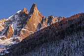 Les Drus and the Aiguille Verte at sunset, January 19, 2020. Mont-Blanc Massif, Haute-Savoie, France