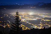 Light and air pollution over the Arve valley shortly before dusk. Shot of January 22, 2020 from the slopes of Mont Môle, Haute-Savoie, France