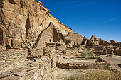 Pueblo Bonito is an ancestral Puebloan great house located in Chaco Canyon Cultral Park, New Mexico.