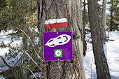 Sign of a snowshoes tour in the Vercors, Corrençon en Vercors, France