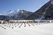 Departure of the Lekkarod sled dog race in Bessans,Haute Maurienne, Savoie, France
