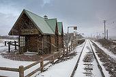 Genseikaen station in a snowstorm in Abashiri, Hokkaido, Japan