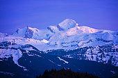 Mont-Blanc at dusk. Shooting February 2020, Haute-Savoie, France