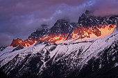 Chamonix needles at sunset. Shot of February 2020, from Les Houches, Haute-Savoie, France