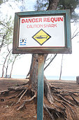 Warning sign against sharks in Reunion.