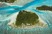 Lagons au nord-ouest de Moorea, Motu Fareone et Motu Tiahura, Moorea, Polynésie française
