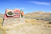 Entrance sign to the Fossil Butte National Monument, U.S. National Park Service, Wyoming, USA