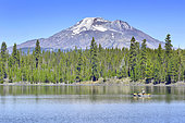 Fisherman on Elk Lake, Mount Bachelor, Oregon, USA