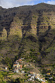 Hamlet surrounded by terraces, today mostly abandoned. Valle Gran Rey, La Gomera, Canary Islands